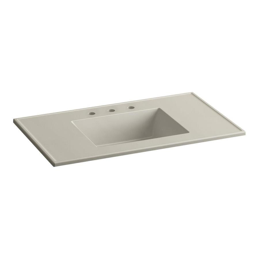 KOHLER Ceramic/Impressions Sandbar Impressions Vitreous China Integral Bathroom Vanity Top (Common: 37-in x 22-in; Actual: 37-in x 22.375-in)