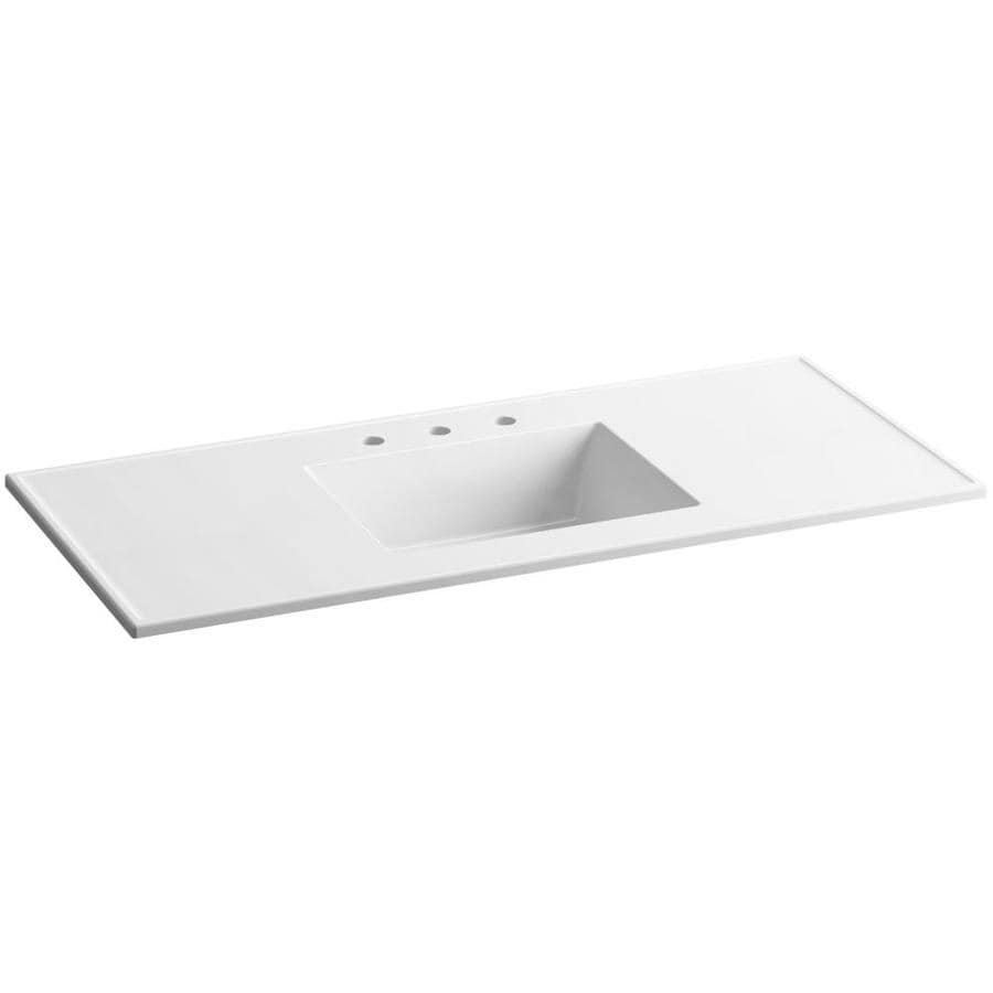 KOHLER Ceramic/Impressions White Impressions Vitreous China Integral Bathroom Vanity Top (Common: 49-in x 22-in; Actual: 49-in x 22.375-in)