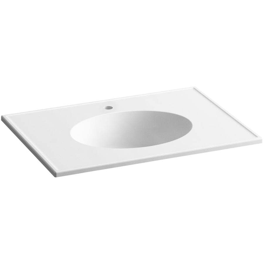 KOHLER Ceramic/Impressions White Impressions Vitreous China Integral Bathroom Vanity Top (Common: 31-in x 23-in; Actual: 31-in x 22.375-in)