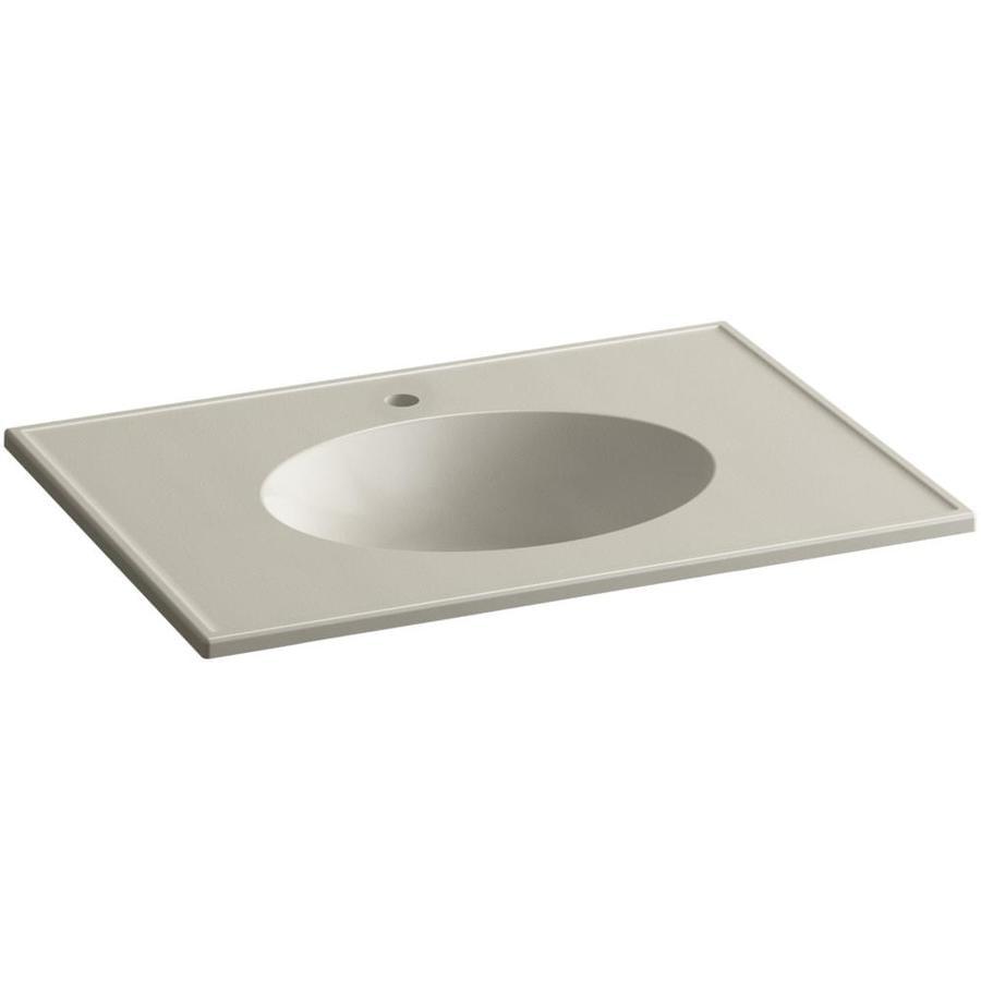 KOHLER Ceramic/Impressions Sandbar Impressions Vitreous China Integral Bathroom Vanity Top (Common: 31-in x 22-in; Actual: 31-in x 22.375-in)