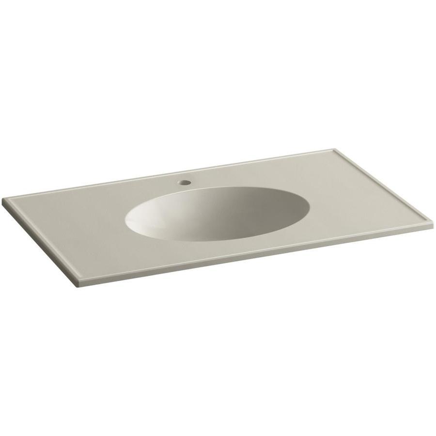 KOHLER Ceramic/Impressions Sandbar Impressions Vitreous China Integral Bathroom Vanity Top (Common: 37-in x 23-in; Actual: 37-in x 22.375-in)