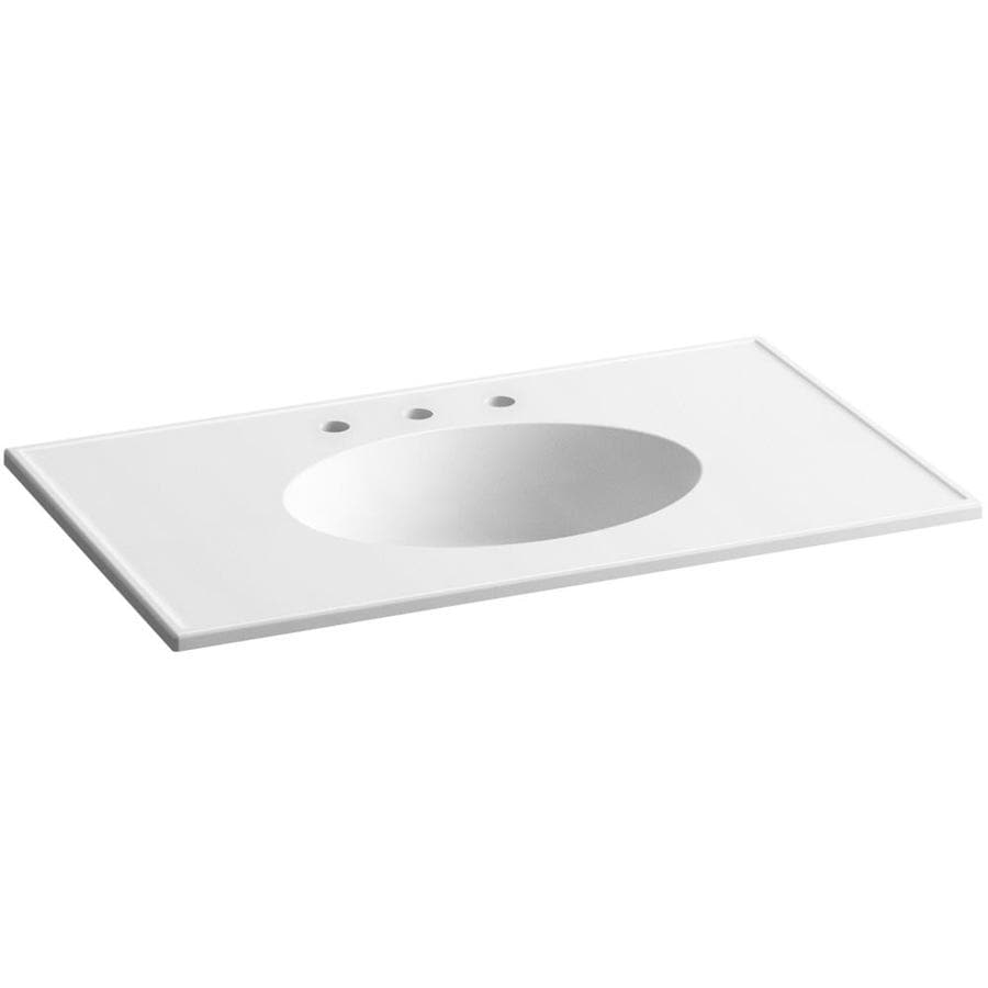 KOHLER Ceramic/Impressions White Impressions Vitreous China Integral Bathroom Vanity Top (Common: 37-in x 23-in; Actual: 37-in x 22.375-in)