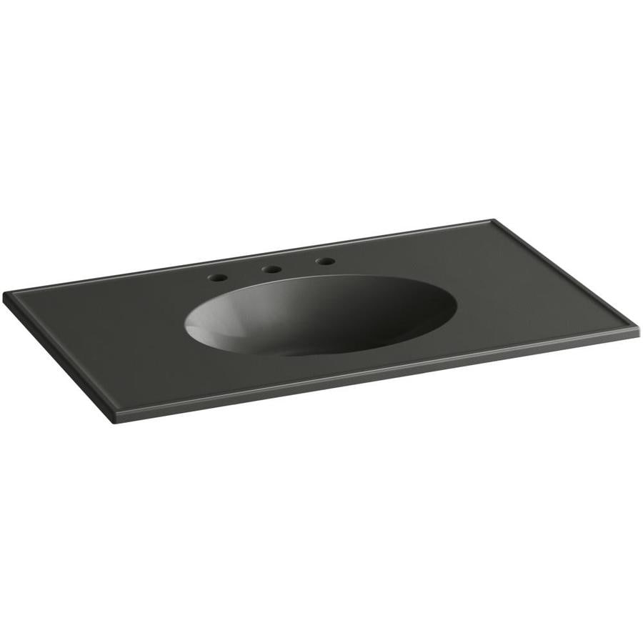 KOHLER Ceramic/Impressions Thunder Grey Impressions Vitreous China Integral Bathroom Vanity Top (Common: 37-in x 23-in; Actual: 37-in x 22.375-in)