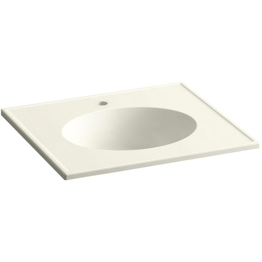 KOHLER Ceramic/Impressions Biscuit Impressions Vitreous China Integral Bathroom Vanity Top (Common: 25-in x 23-in; Actual: 25-in x 22.375-in)