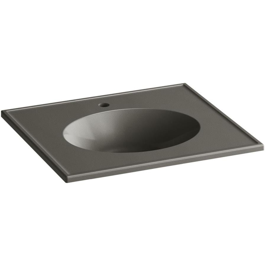 KOHLER Ceramic/Impressions Cashmere Impressions Vitreous China Integral Bathroom Vanity Top (Common: 25-in x 23-in; Actual: 25-in x 22.375-in)