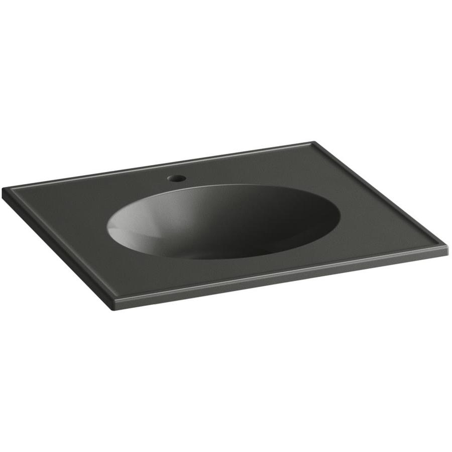 KOHLER Ceramic/Impressions Thunder Grey Impressions Vitreous China Integral Bathroom Vanity Top (Common: 25-in x 23-in; Actual: 25-in x 22.375-in)