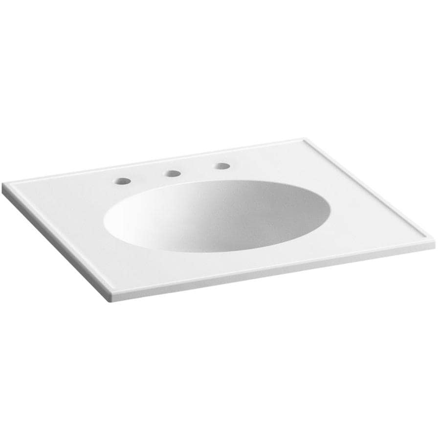 KOHLER Ceramic/Impressions White Impressions Vitreous China Integral Bathroom Vanity Top (Common: 25-in x 23-in; Actual: 25-in x 22.375-in)