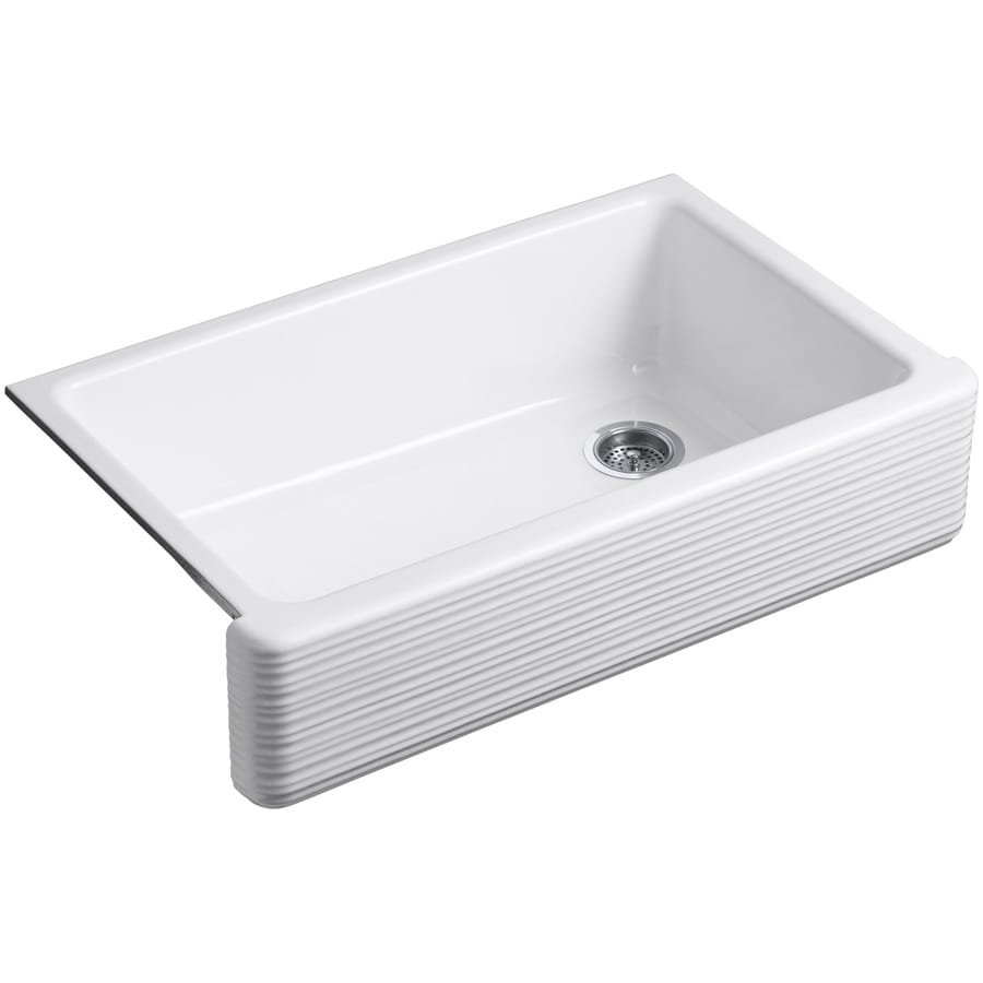 White Apron Kitchen Sink : ... White Single-Basin Cast Iron Apron Front/Farmhouse Residential Kitchen