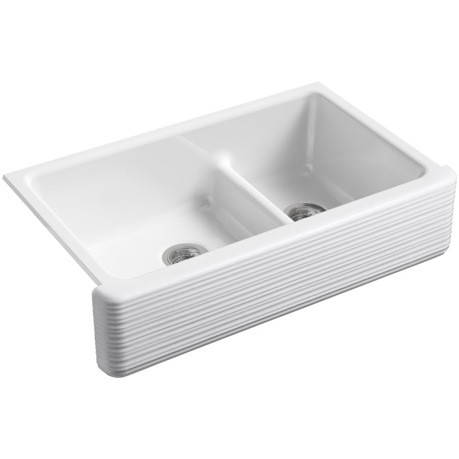 Kohler Whitehaven 35 68 In X 21 56 White Double Basin Standard Drop