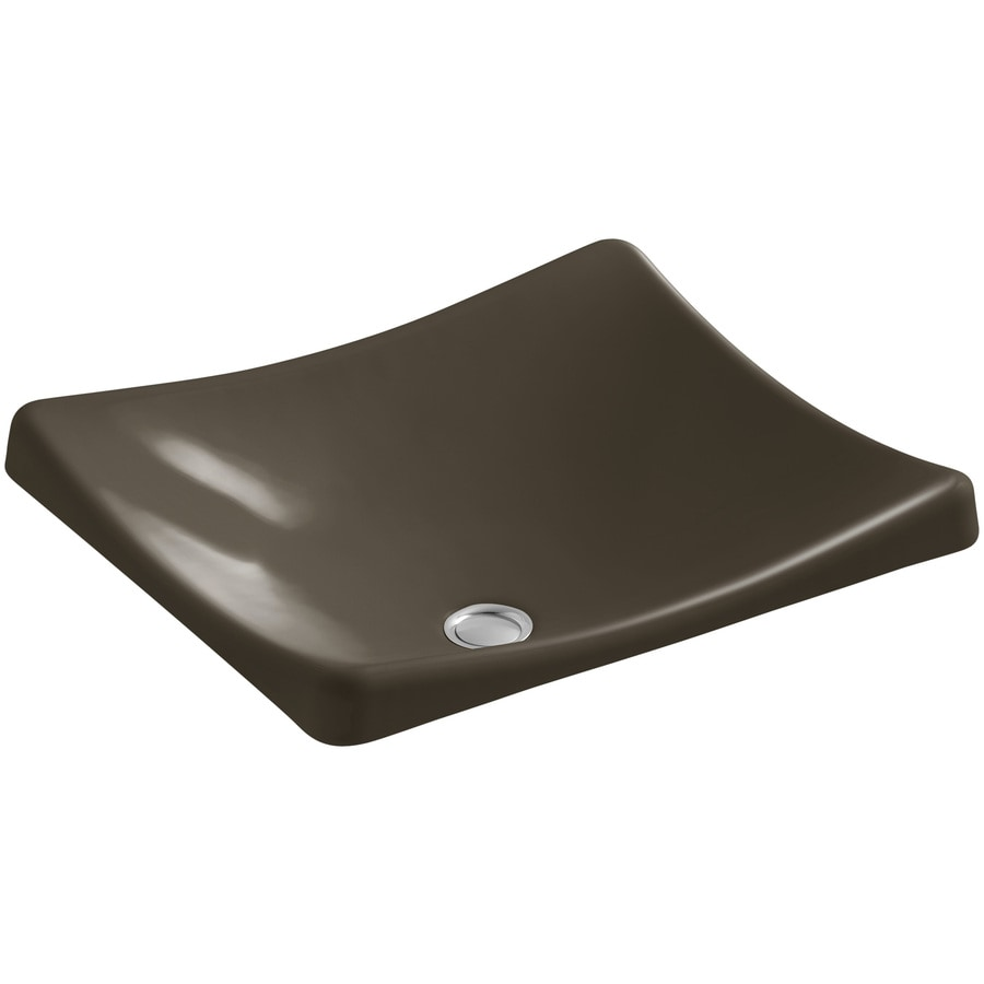 Kohler Rectangular Sink : Shop KOHLER Demilav Suede Cast Iron Vessel Rectangular Bathroom Sink ...