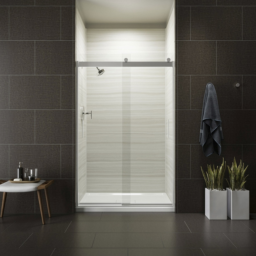 Kohler Levity 44 625 In To 47 W Frameless Bright Silver Sliding Shower Door