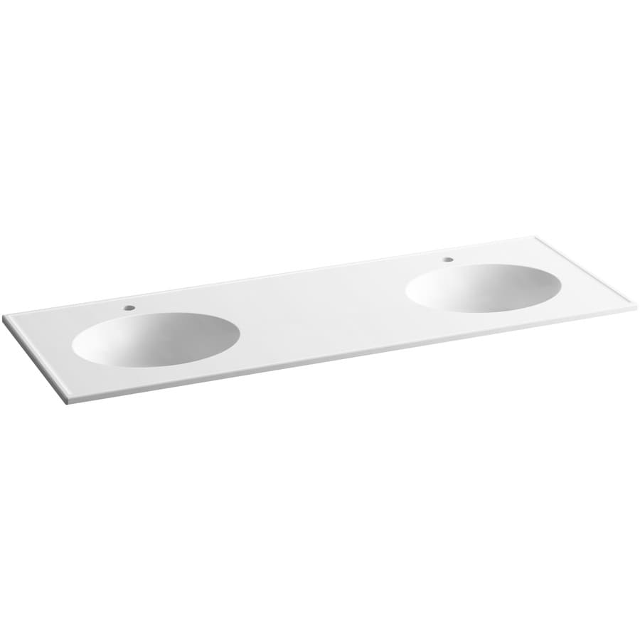 KOHLER Ceramic/Impressions White Impressions Vitreous China Integral Bathroom Vanity Top (Common: 61-in x 23-in; Actual: 61-in x 22.375-in)