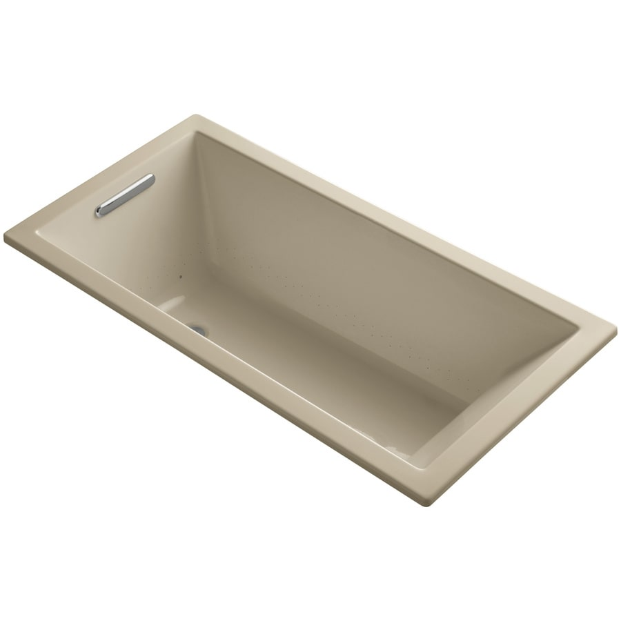 KOHLER Underscore 60-in Mexican Sand Acrylic Drop-In Air Bath with Reversible Drain