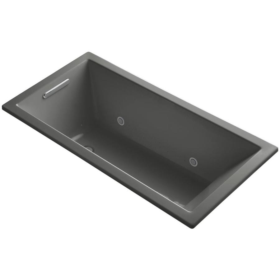 KOHLER Underscore 60-in Thunder Grey Acrylic Drop-In Air Bath with Reversible Drain