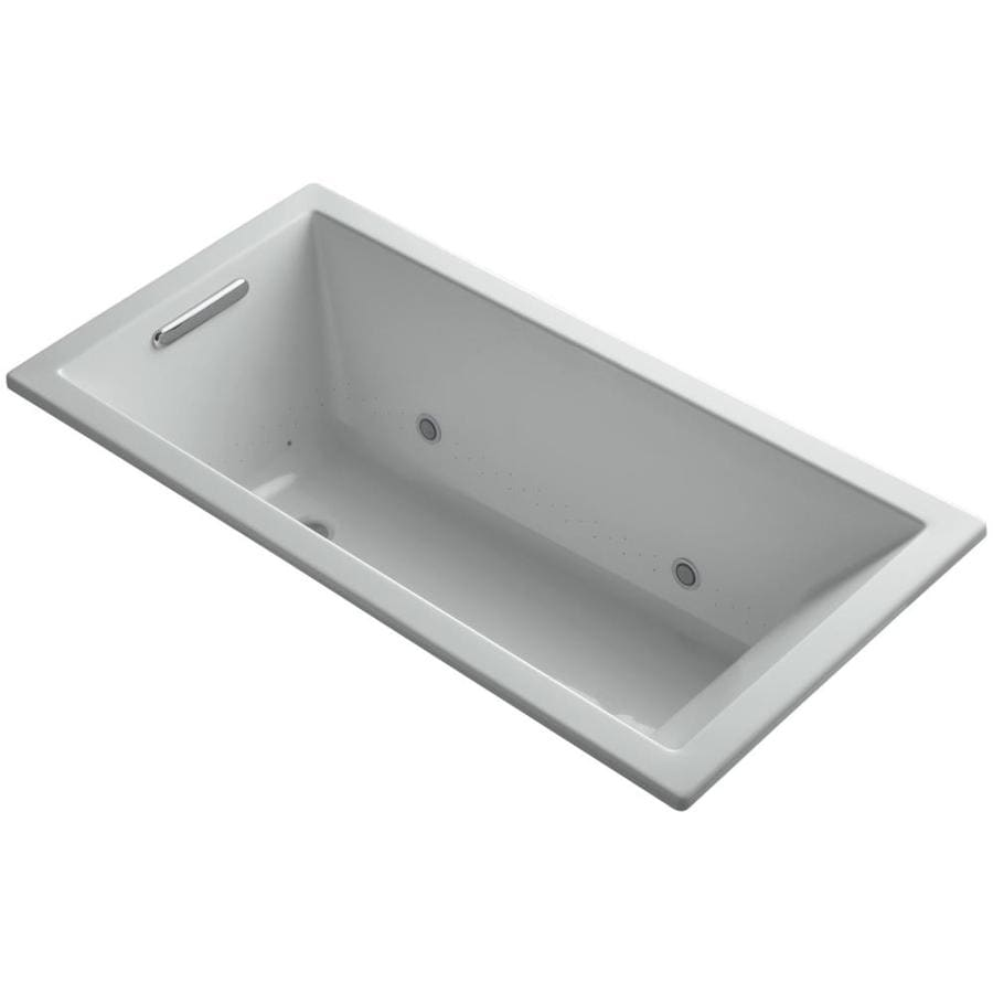 KOHLER Underscore 60.0000-in L x 30.0000-in W x 19.0000-in H Ice Grey Acrylic Rectangular Drop-in Air Bath