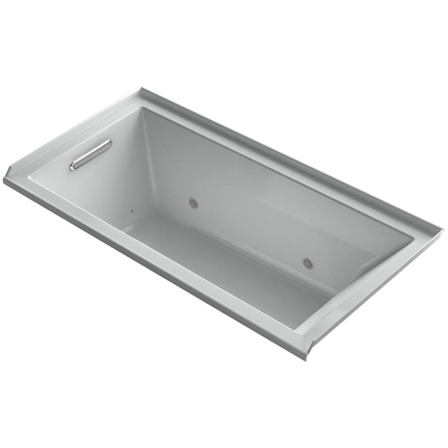 KOHLER Underscore 60-in Ice Grey Acrylic Alcove Air Bath with Left-Hand Drain
