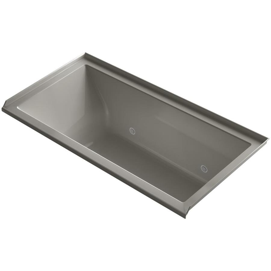 KOHLER Underscore 60-in Cashmere Acrylic Alcove Air Bath with Right-Hand Drain