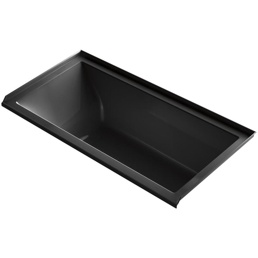 KOHLER Underscore 60-in Black Black Acrylic Alcove Air Bath with Right-Hand Drain