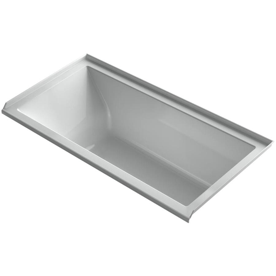KOHLER Underscore 60-in L x 30-in W x 19-in H Ice Grey Acrylic Rectangular Alcove Air Bath