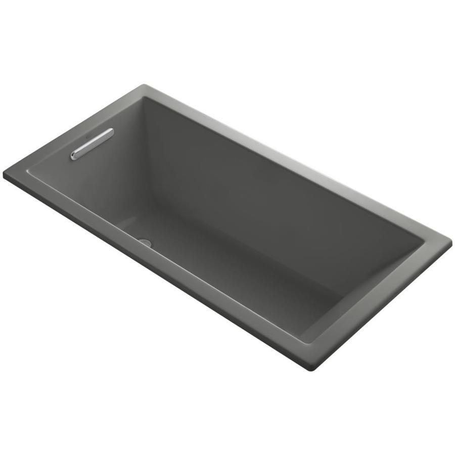 KOHLER Underscore 60-in Thunder Grey Acrylic Drop-In Bathtub with Reversible Drain