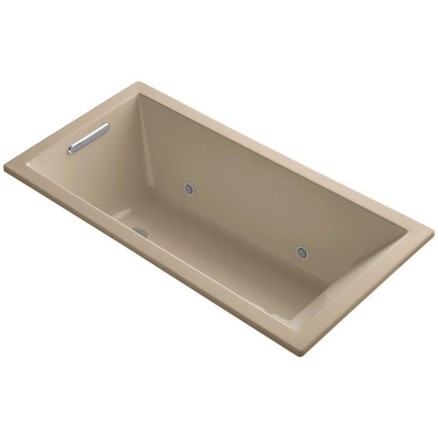 KOHLER Underscore 60-in Mexican Sand Acrylic Drop-In Bathtub with Reversible Drain