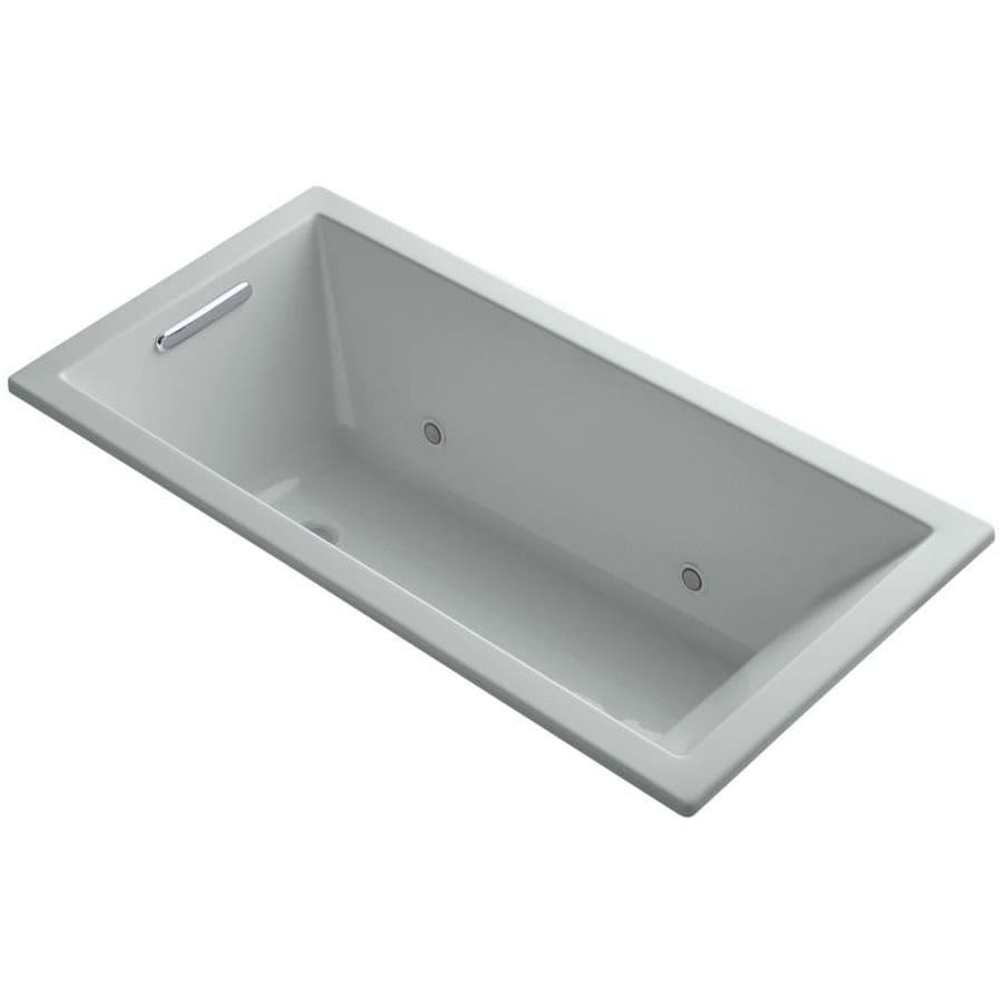 KOHLER Underscore Ice Grey Acrylic Rectangular Drop-in Bathtub with Reversible Drain (Common: 30-in x 60-in; Actual: 19-in x 30-in x 60-in)