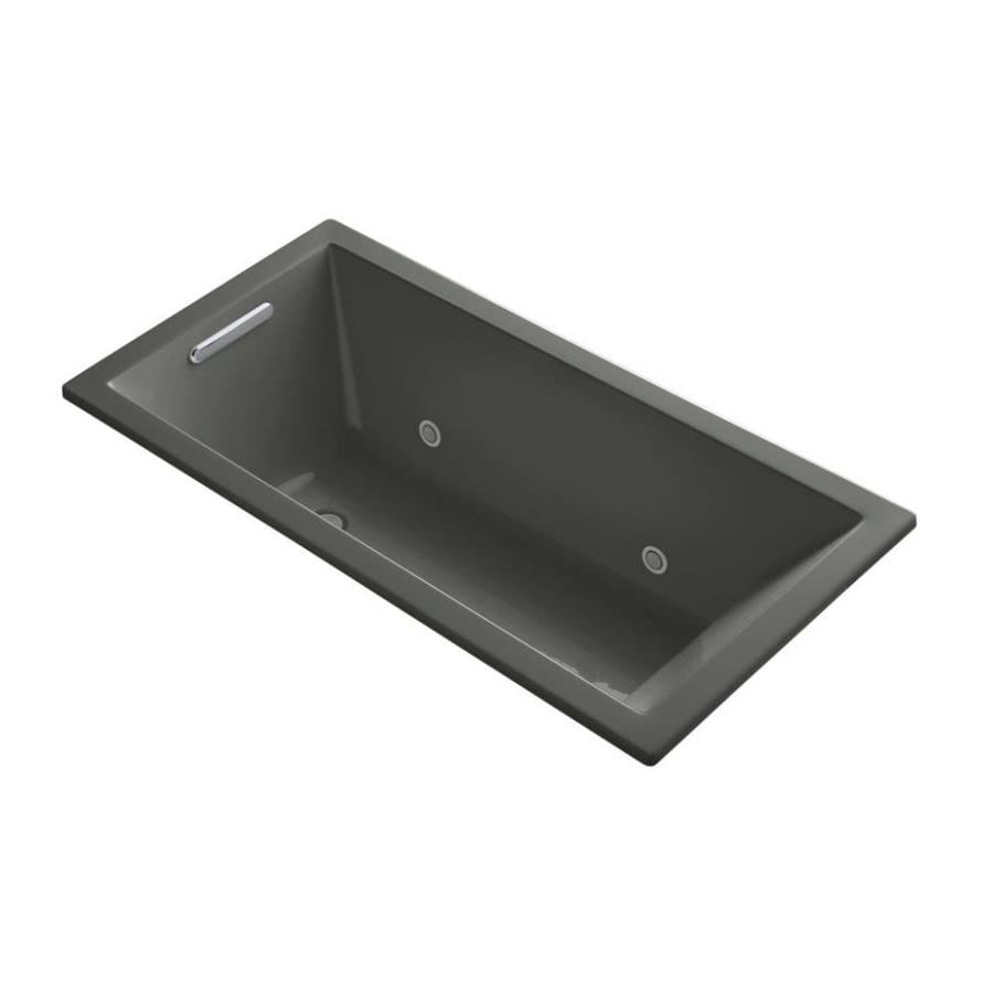 KOHLER Underscore Thunder Grey Acrylic Rectangular Drop-in Bathtub with Reversible Drain (Common: 30-in x 60-in; Actual: 19-in x 30-in x 60-in)