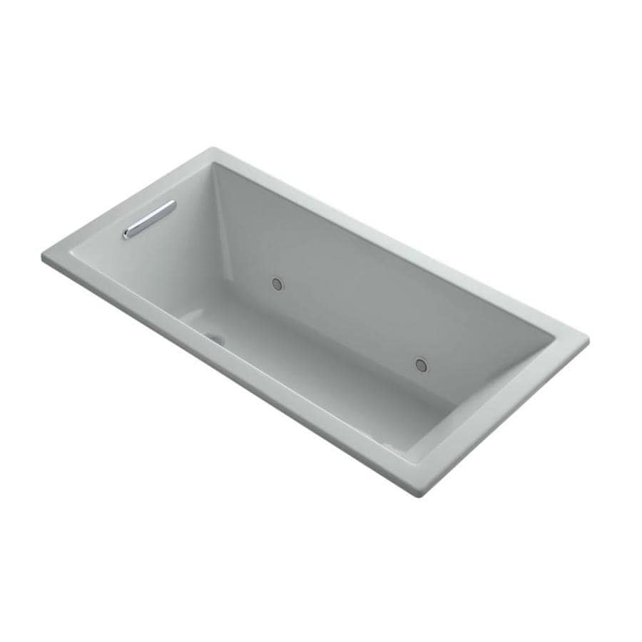 KOHLER Underscore Ice Grey Acrylic Rectangular Drop-in Bathtub with Reversible Drain (Common: 30-in x 60-in; Actual: 19-in x 30-in x 60-in)