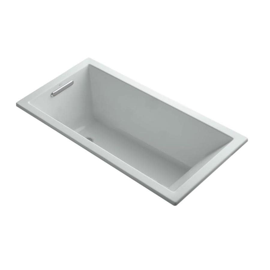 KOHLER Underscore 60-in Ice Grey Acrylic Drop-In Bathtub with Reversible Drain