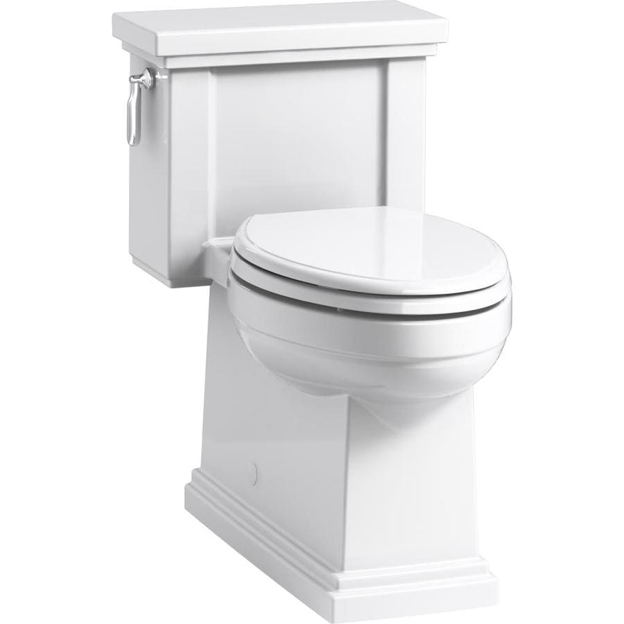 KOHLER Tresham 1.28 White WaterSense Compact Elongated Chair Height 1-Piece Toilet