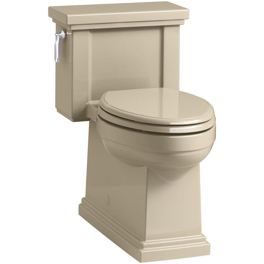 KOHLER Tresham 1.28-GPF Mexican Sand WaterSense Compact Elongated Chair Height 1-Piece Toilet