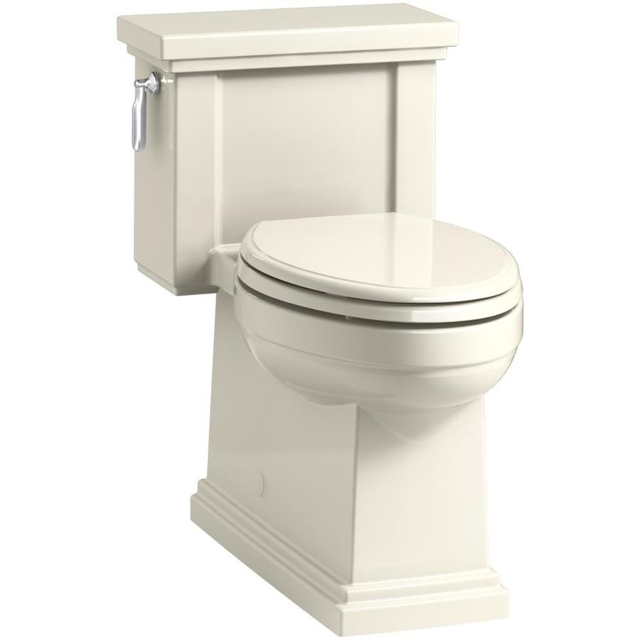 KOHLER Tresham Almond WaterSense Labeled  Compact Elongated Chair Height 1-piece Toilet 12-in Rough-In Size