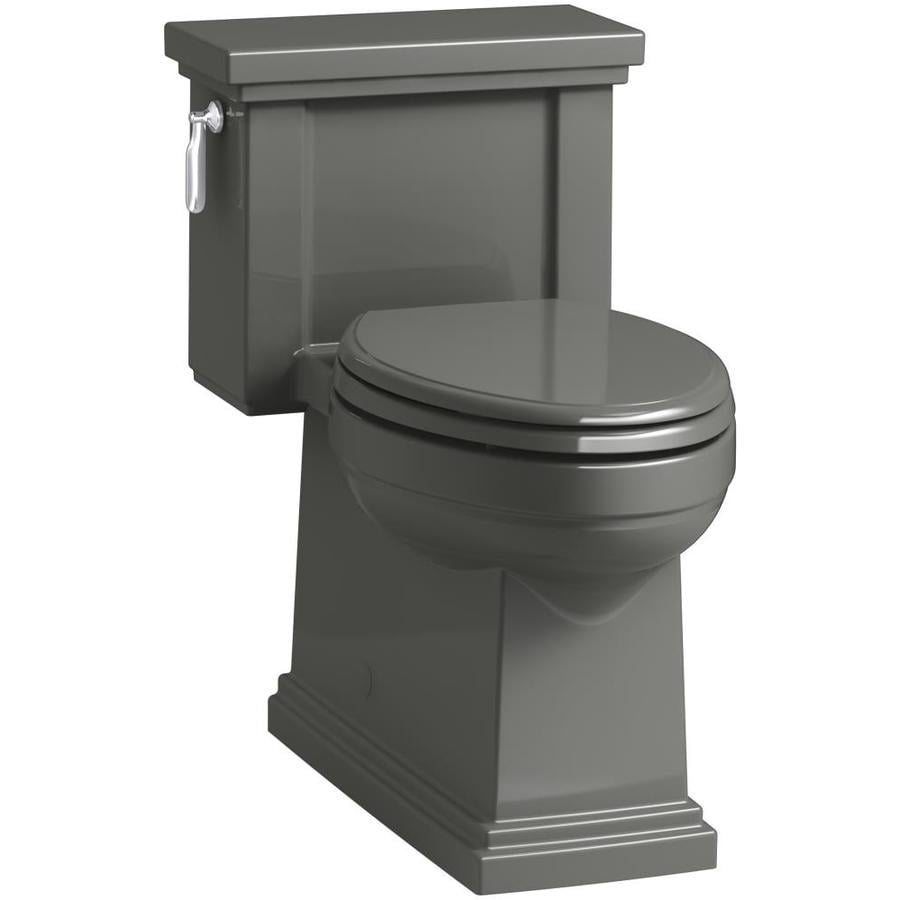 KOHLER Tresham 1.28 Thunder Grey WaterSense Compact Elongated Chair Height 1-Piece Toilet