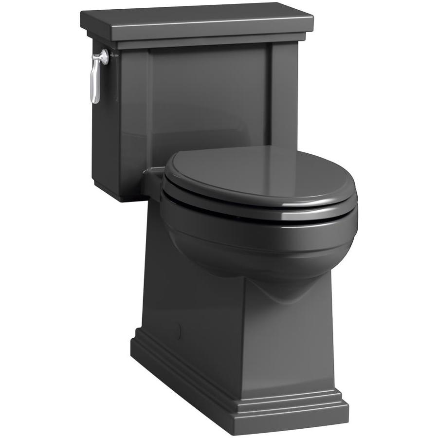 KOHLER Tresham 1.28 Black Black WaterSense Compact Elongated Chair Height 1-Piece Toilet