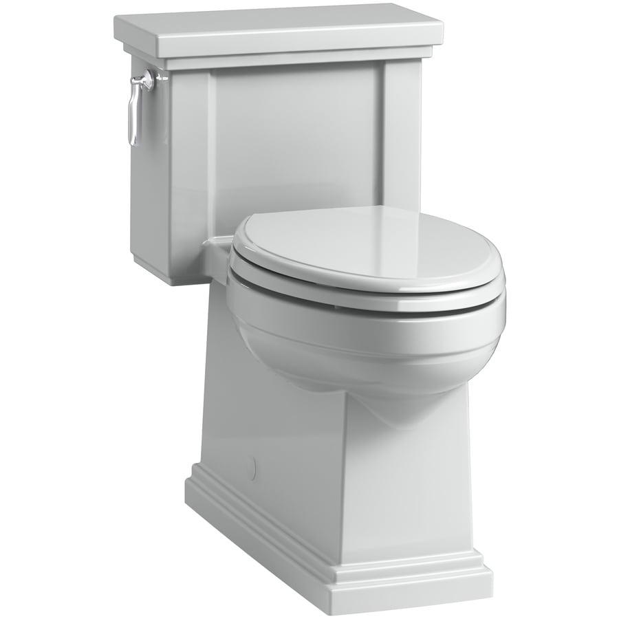 KOHLER Tresham 1.28 Ice Grey WaterSense Compact Elongated Chair Height 1-Piece Toilet