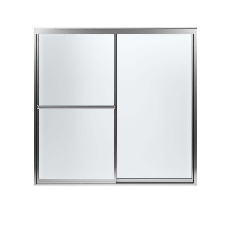 Sterling Prevail 59.37-in W x 56.37-in H Silver Bathtub Door