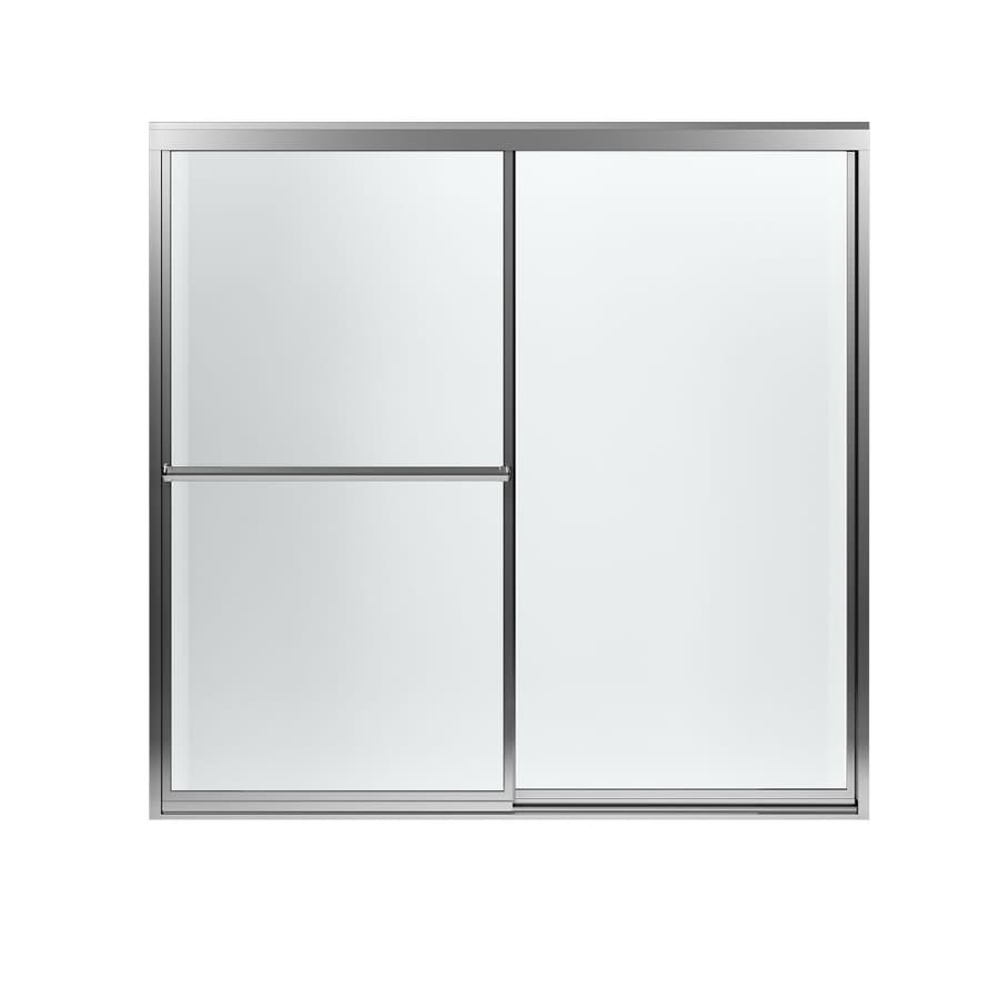 Sterling Prevail 59.375-in W x 56.5-in H Silver Framed Bathtub Door