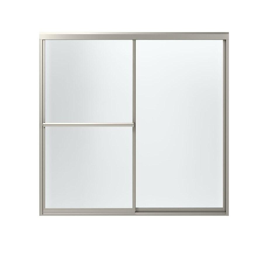 Sterling Prevail 59.375-in W x 56.5-in H Brushed Nickel Framed Bathtub Door
