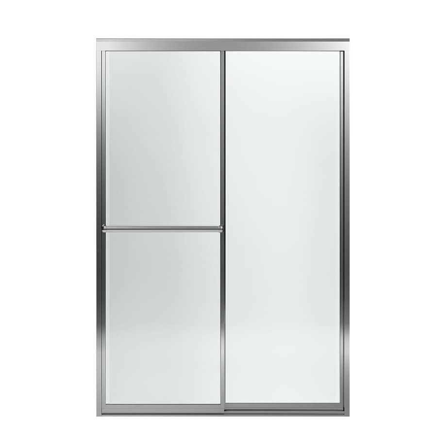 Sterling Prevail 43.875-in to 48.875-in W Framed Silver Sliding Shower Door