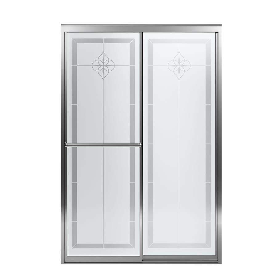 Sterling Prevail 43.8750-in to 48.8750-in W Framed Silver Sliding Shower Door
