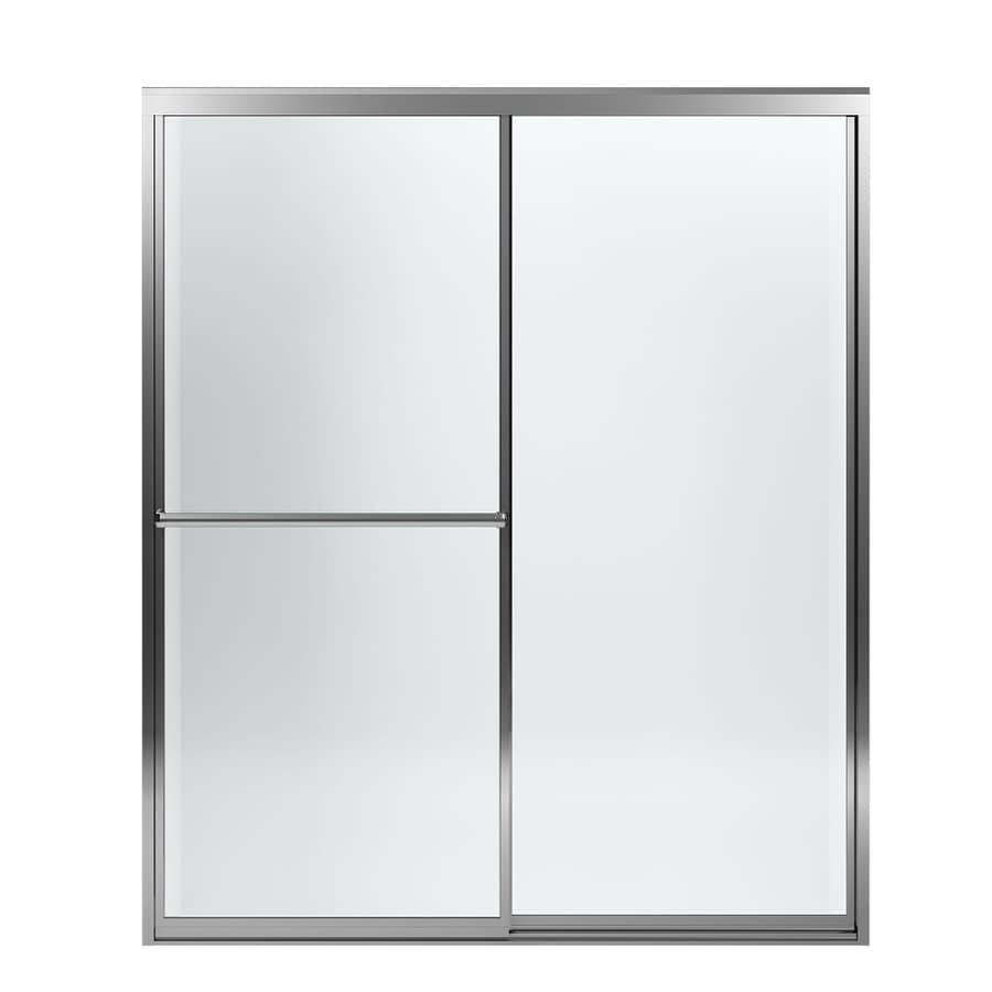 Sterling Prevail 54.375-in to 59.375-in W Framed Silver Sliding Shower Door