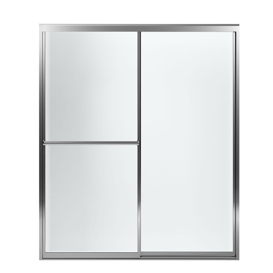 Sterling Prevail 54.37-in to 59.37-in W x 70.12-in H Silver Sliding Shower Door
