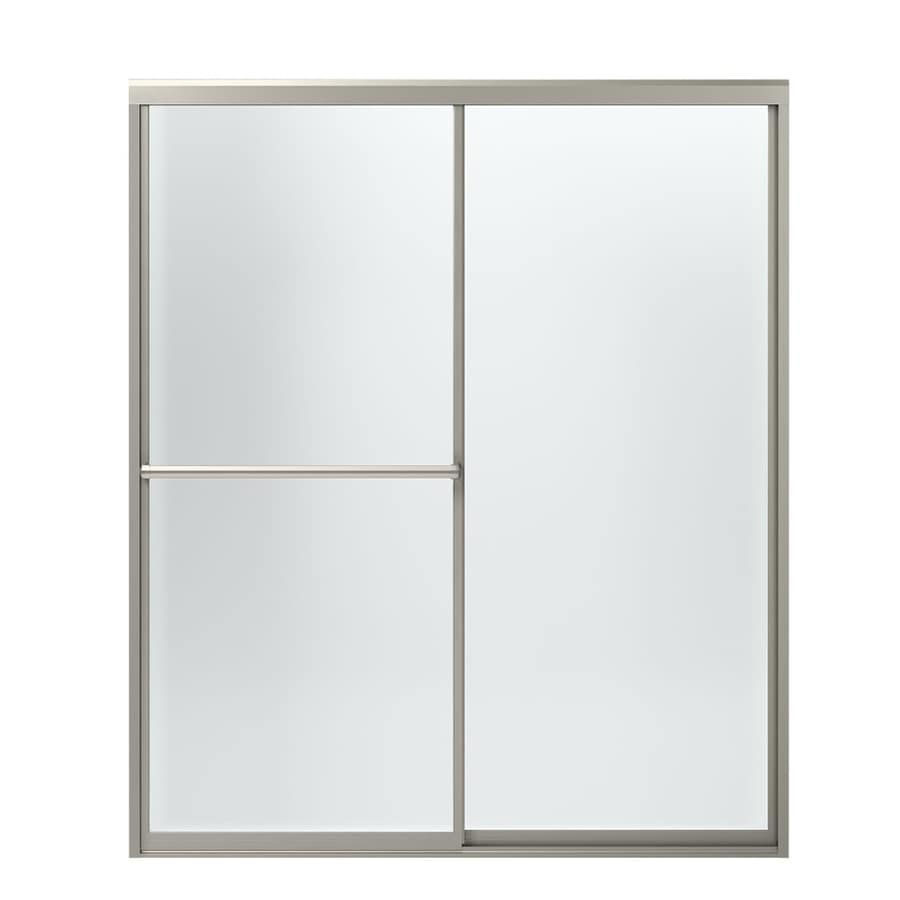 Sterling Prevail 54.3750-in to 59.3750-in Framed Brushed nickel Sliding Shower Door