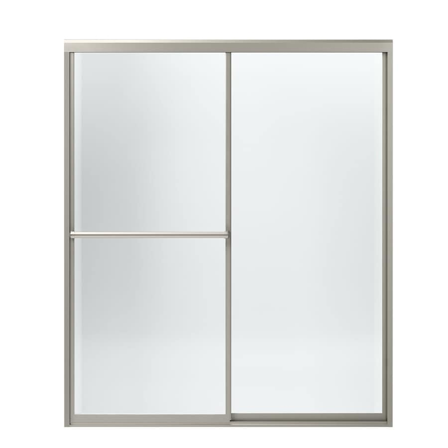Sterling Prevail 54.375-in to 59.375-in W x 70.125-in H Brushed Nickel Sliding Shower Door