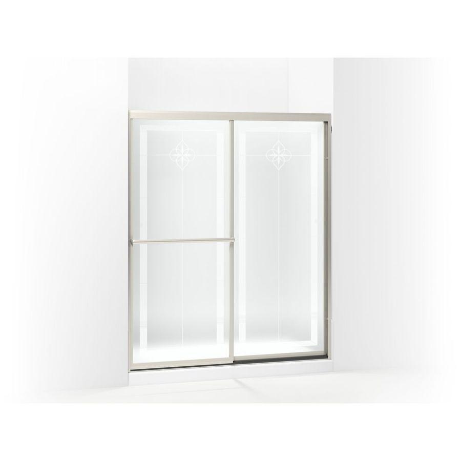 Sterling Prevail 54.3750-in to 59.3750-in Framed Brushed nickel Sliding Shower Door