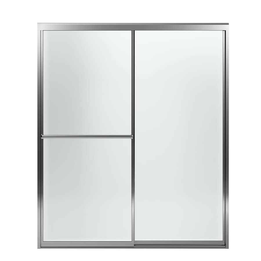 Sterling Prevail 54.3750-in to 59.3750-in Framed Silver Sliding Shower Door