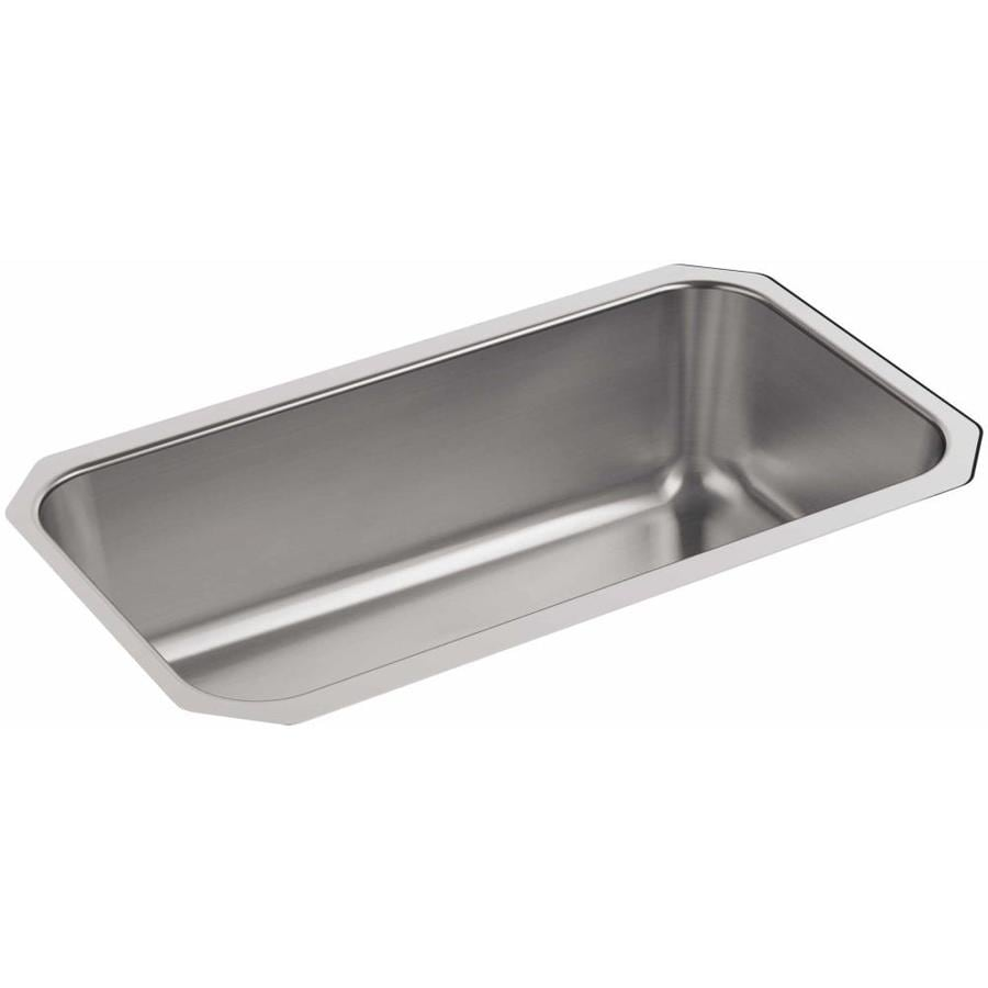 KOHLER 17.875-in x 31.25-in Stainless Steel 1 Stainless Steel Undermount (Customizable)-Hole Residential Kitchen Sink