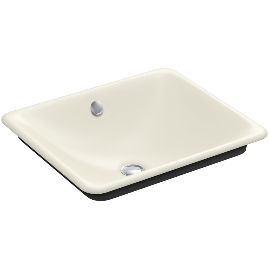 KOHLER Iron Plains Biscuit Cast Iron Vessel Rectangular Bathroom Sink with Overflow