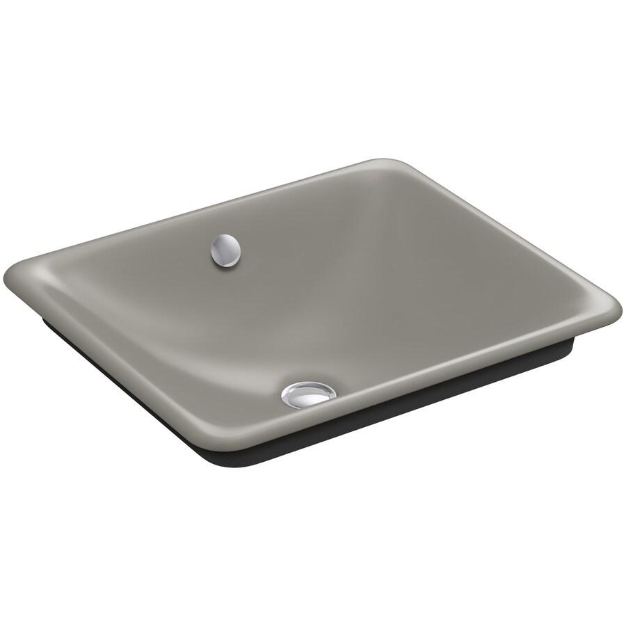 KOHLER Iron Plains Cashmere Cast Iron Vessel Rectangular Bathroom Sink with Overflow