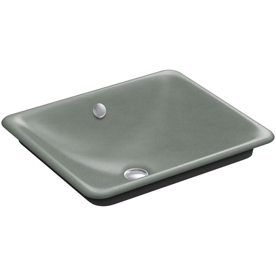 KOHLER Iron Plains Basalt Cast Iron Vessel Rectangular Bathroom Sink with Overflow